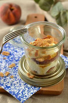 Verrine de pêche rôtie, mascarpone et sirop d'érable - Recette - Tangerine Zest
