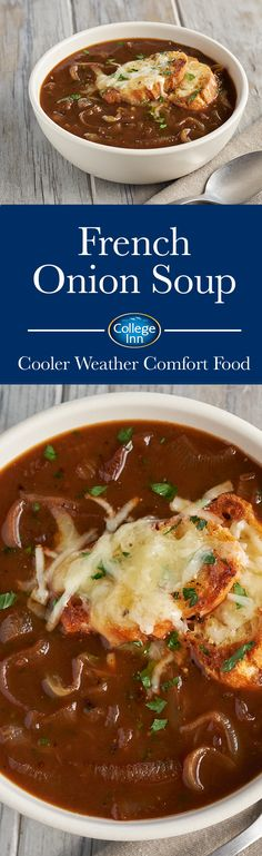 All the things you savor about French Onion Soup, deeply caramelized onions, rich College Inn® Beef Broth, and crunchy cheese toast come together for a medley of flavors that saves on prep time. Crockpot Recipes, Soup Recipes, Vegetarian Recipes, Cooking Recipes, Healthy Recipes, Dairy Recipes, Eat Healthy, Appetizer Recipes, Recipies