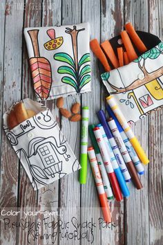 make your own reusable snack bags for healthy and earth friendly snacking. Use fun fabric to add a color-yourself activity. Healthy and Green snacking! Easy Sewing Patterns, Sewing Tutorials, Sewing Crafts, Sewing Projects, Sewing Ideas, Girls Messenger Bag, Crafts For Teens To Make, Kids Crafts, Snack Bags