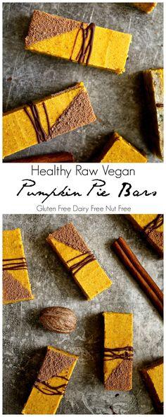 Healthy Raw Gluten Free Pumpkin Pie Bars Recipe (Vegan dairy free nut free)- No bake raw bars filled with real pumpkin, coconut butter, dates and hemp seeds. Vegan Pumpkin Bars Recipe, Gluten Free Pumpkin Pie, Vegan Pumpkin Pie, Pumpkin Pie Bars, Pumpkin Recipes, Dairy Free Recipes, Raw Food Recipes, Vegan Gluten Free, Paleo