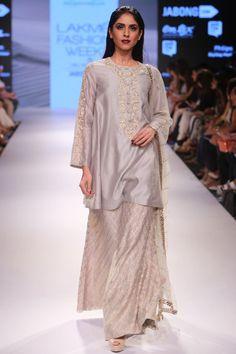Grey embroidered kurta with Benarasi palazzo pants and mukaish dupatta available only at Pernia's Pop Up Shop.