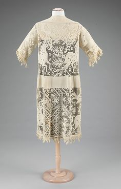 Filet Lace Overdress with Equestrian Motif, ca. 1920