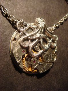 Steampunk Octopus Necklace on Vintage Watch Movement with Exposed Gears - Neo Victorian-Upcycled
