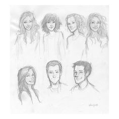 My siblings and I ~ I think Burdge said that. Hmm, Burdge must be the second from the left on the top. I wonder which is the sister that writes, and do any of her other siblings share her artistic ability? Character Sketches, Character Drawing, Art Sketches, Art Drawings, Character Design, Burdge Bug, Percy Jackson Characters, Bug Art, Drawing People