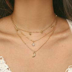 HuaTang Gold Chain Moon Necklace for Women Crystal Necklaces Pendant Boho Chain Charms Necklace Collar Brincos Jewelry 2993 Moon Necklace, Star Necklace, Collar Necklace, Crystal Necklace, 3 Layer Necklace, Layered Necklaces Silver, Stacked Necklaces, Trendy Necklaces, Girls Necklaces