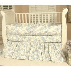 Toile In Blue Crib Bedding Set