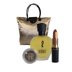 Flori Roberts Holiday Collection  -  Indulge Me  -  Saffron Lipstick, Chocolate Loose Mineral Eye Shadow, Ashanti 1.7 oz Fragrance in a Gold Foldable Shopping Tote