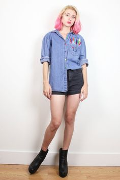 Vintage 1990s Chambray Shirt Colorful Rainbow Crayon Embroidered Pocket Normcore 90s Denim Shirt Art Teacher Soft Grunge Top M Med L Large #1990s #90s #chambray #blue #jean #denim #crayon #art #teacher #embroidered #long #sleeve #chambray #shirt #blouse #normcore