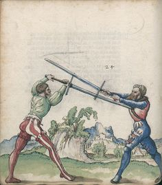 Title: Goliath (MS Germ.Quart.2020), Page: Folio 38v, Date: 1510-1520 Medieval Art, Renaissance Art, Historical European Martial Arts, Early Modern Period, Landsknecht, Sword Fight, Arm Armor, Fantasy Weapons, Historical Pictures