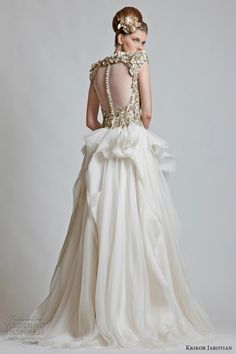 krikor jabotian bridal collection 2013  scoop neck gown with and heavily embellished bodice with structured cap sleeves - back view