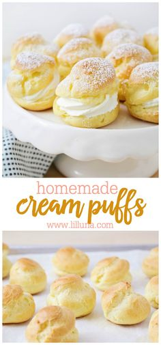 These homemade cream puffs are just as delicious as the ones at the bakery. You won't believe how simple and easy these elegant little pastries are to make! # delicious desserts Homemade Cream Puffs - They're Easier Than They Look! Brownie Desserts, Köstliche Desserts, Delicious Desserts, Dessert Recipes, Yummy Food, Sweets Recipe, Elegant Desserts, Pudding Recipes, Cupcake Recipes