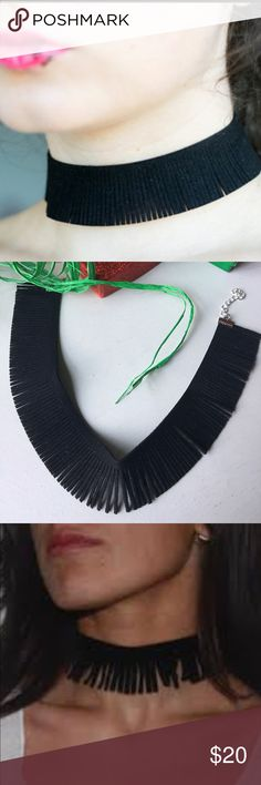 🖤{On the Fringe} Black Suede Choker🖤 🖤{On the Fringe} Black Suede Choker🖤Brand new in packaging🖤Boho meets 90s Grunge and Goth🖤Adjustable clasp🖤Faux suede fringe🖤One size fits most!🖤 Jewelry Necklaces