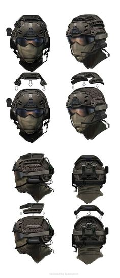 Call of Duty Black Ops 2 Concept Art_SEALS_Assault_Helmet_Ortho by Eric Chiang