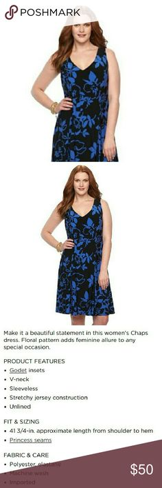 Plus Size Chaps Dress 18W Lovely Black w/ Moscow Blue floral  dress. V-neck, sleeveless, godet insets for skirt flare, has tab to hold your bra straps in place.  Soft Jersey material. Very versatile, great for work or play.  Blue floral is not as bright as stock photo. Will add more photos. Chaps Dresses