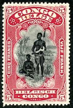 """Belgian Congo 1910 Scott 57 carmine & black """"Bangala Chief and Wife"""" Old Stamps, Rare Stamps, Vintage Stamps, Congo Free State, Belgian Congo, Paper Collage Art, Art And Hobby, 17th Century Art, Postage Stamp Art"""