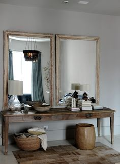 House call: Harriet Maxwell and Andrew corrie of Ochre in NYC. A pair of antique mirrors hangs over a vintage farm table in the dressing area. Sweet Home, Turbulence Deco, Interior Decorating, Interior Design, Foyer Decorating, Decorating Ideas, Home And Deco, Design Case, Style At Home