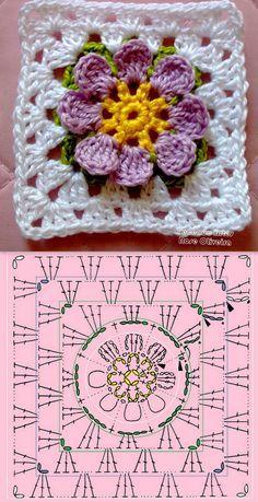 Square crochet ❥Teresa Restegui