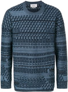 YUNY Mens Jacquard Vintage Retro Knitting Spell Color Pullover Sweater 1 XL
