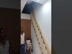 Thought this cool staircase could be great in a tiny house. Loft Stairs, House Stairs, Retractable Stairs, House Ladder, Folding Ladder, Container House Plans, Tiny House Living, Cool Stuff, Youtube