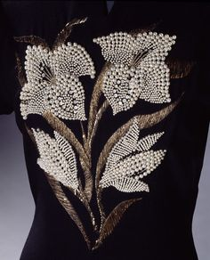 Embroidery on a dress designed by Elsa Schiaparelli, 1940