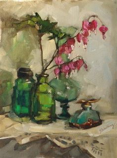 """Bleeding Hearts"" - Original Fine Art for Sale - © Barbara Schilling, beautiful still life composition"