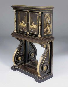 A REGENCY LACQUERED BRASS-MOUNTED AND INLAID EBONISED, JAPANESE BLACK AND GILT LACQUER AND PARCEL-GILT CABINET-ON-STAND POSSIBLY BY GEORGE OAKLEY, THE LACQUER LATE 17TH EARLY 18TH CENTURY