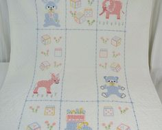 Cross Stitch Baby Crib Blanket Vintage 1982 by 13thStreetEmporium, $20.00