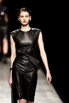 leather dress If I was her size I'd wear this too.