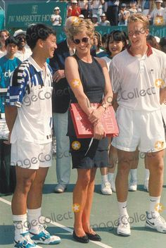 Mp-018537 Princess Diana Michael Chang and Jonas Bjorkman at Salem Tennis Final Hong Kong 04-23-1995 Photo by Dave Chancellor-alpha-Globe Photos