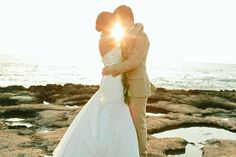 Bride and Groom at Sunset #HawaiiSunsetWedding  | What A Day! Photography