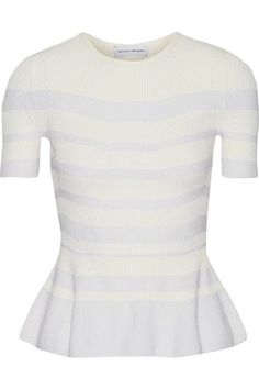 NARCISO RODRIGUEZ Striped ribbed-knit top. #narcisorodriguez #cloth #tops