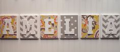 Name Blocks with FABRIC, Nursery Decor, Wooden Wall Hanging Plaques, Personalized, Gray and Yellow Patterns, 7x9, Wooden Letters,