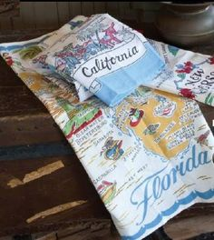 Vintage & RETRO Linen Kitchen Towels~State Towels