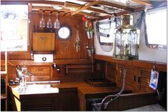 Kitchen storage ideas galley 1978 Tayana Mariner 36'