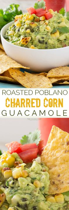Not your average guacamole recipe! Filled with smoky roasted poblano peppers and deliciously charred corn, it's layer after layer of flavor! Easy Appetizer Recipes, Yummy Appetizers, Dinner Recipes, Dip Recipes, Appetizer Ideas, Snack Recipes, Tostadas, Tacos, Gourmet