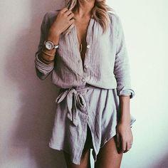 @emilyrosehannon wears Grey Shirt Dress - http://saboskirt.com/shop/product/grey-shirt-dress - #SaboSkirt