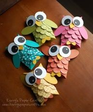 Cute little toilet paper roll owls.