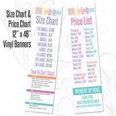 This design follows all LuLaRoe design protocols including fonts and colors. LuLaRoe has sent out an email that states they are putting all specific approvals on hold and to simply follow the protocols in the LuLaRoe Design Guide. THIS PRODUCT COMBO INCLUDES: 1 Size Chart and 1 Price List  1) LuLaRoe Size Chart Banner is perfect to enhance your LuLaRoom, Pop-Ups, and Booths. This banner includes both the Size Chart and True To Size Chart information. Styles that do not need a true to size…