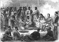 Ras Kasa, Prince of Tigray (later Emperor Yohannes IV) hosting General Robert Napier, 1868