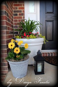 Porch Ideas. Different size pots on the steps looks great!!  Add a little solar light!!
