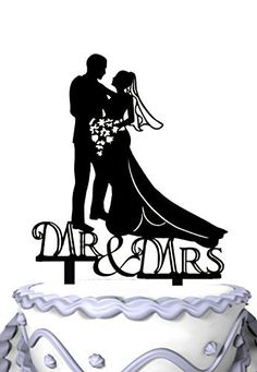 Embracing Bride and Groom Mr & Mrs Wedding Day Cake Topper Silhouette