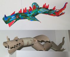 dragon made of toilet paper rolls