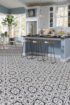 Luxury vinyl tile sheet floor layout design inspiration for kitchen bathroom foyer dining laundry room space
