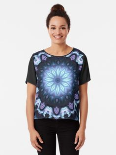 A nocturnal Fantasy in blue, violet, black and white Tshirt Colors, Wardrobe Staples, Female Models, Chiffon Tops, Heather Grey, Classic T Shirts, Artists, Fantasy, Tees