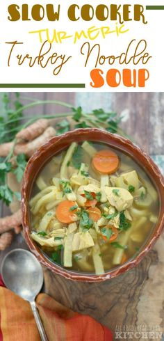 Business Cookware Ought To Be Sturdy And Sensible Slow Cooker Turmeric Turkey Noodle Soup Slow Cooker Soup, Slow Cooker Recipes, Soup Recipes, Healthy Recipes, Healthy Meals, Turkey Noodle Soup, Turkey Soup, Homemade Soup, Bean Soup