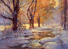 snow watercolor paintings | My World of Watercolors and Oils: October Snow