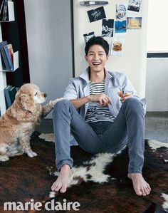 A lucky dog got to cuddle with Song Joong Ki for next month's issue of Marie Claire Korea … I want to be that dog. I want to be anything that Song Joong Ki uses as a prop. Song Hye Kyo, Song Joong Ki, Park Hae Jin, Park Seo Joon, Park Shin Hye, Asian Actors, Korean Actors, Korean Idols, Marie Claire