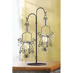 2 CRYSTAL DROP CANDLE HOLDER WEDDING CENTERPIECES DECOR NEW~39059