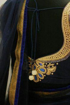Sparkling Fashion: sarees with designer maggam and zardosi work blouses