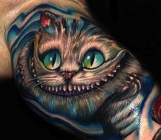 Alice in Wonderland Cheshire Cat Tattoo by Roman Abrego Star Wars Tattoo, Star Tattoos, Cute Tattoos, Beautiful Tattoos, Body Art Tattoos, Sleeve Tattoos, Awesome Tattoos, Beautiful Body, Tatoos